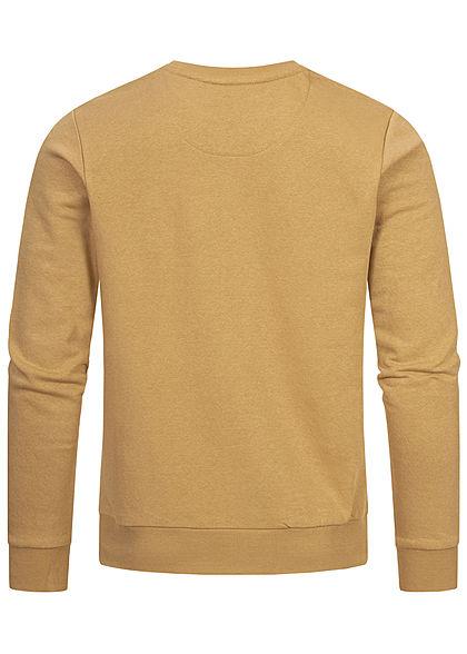Brave Soul Herren Basic Sweater Pullover breite Rippbündchen tan khaki beige