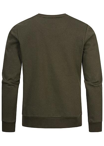 Brave Soul Herren Basic Sweater Pullover breite Rippbündchen oliv navy