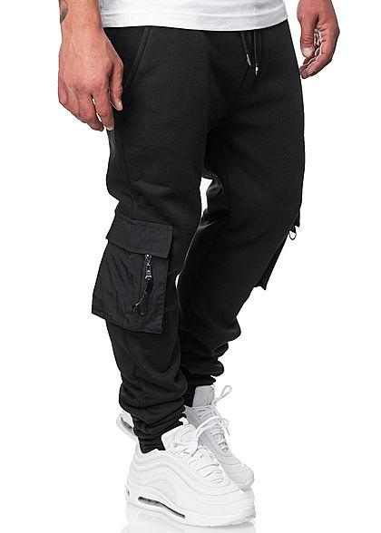 Brave Soul Herren Cargo Sweat Pants Jogginghose 4-Pockets schwarz