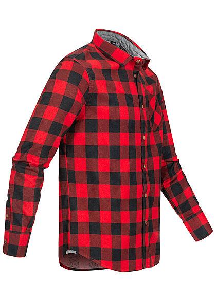 Brave Soul Herren Flanellhemd Karo Muster 2 Brusttaschen rot schwarz