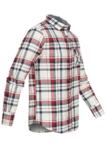 Brave Soul Herren Flanellhemd Karo Muster 2 Brusttaschen ecru beige navy blau rot