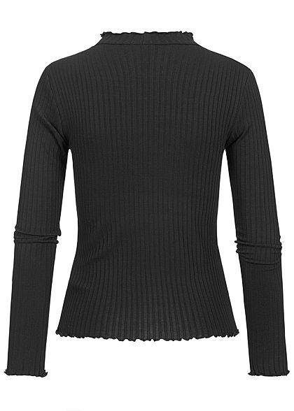 Hailys Damen High-Neck Ribbed Longsleeve mit Frill Details schwarz