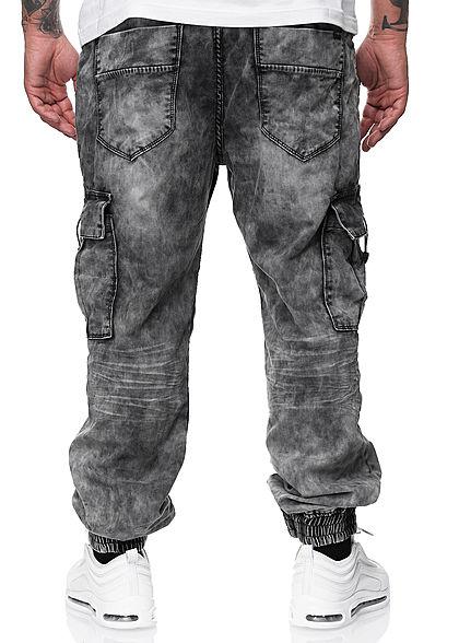 Urban Surface Herren Cargo Jeans Hose 7-Pockets Tunnelzug vintage washed grau denim