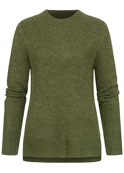 Tom Tailor Damen Nice Cosy Oversized Mock Neck Strick Pullover moss grün melange - Art.-Nr.: 20094451