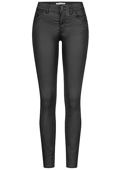 Tom Tailor Damen Extra Skinny Kunstleder Hose 5-Pockets Low Waist coated schwarz - Art.-Nr.: 20094513
