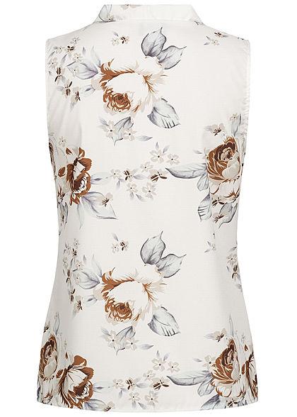 Styleboom Fashion Damen V-Neck Bluse Blumen Print weiss