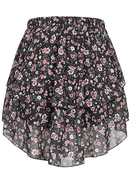 Styleboom Fashion Damen Mini Stufenrock 2-lagig Blumen Muster schwarz pink