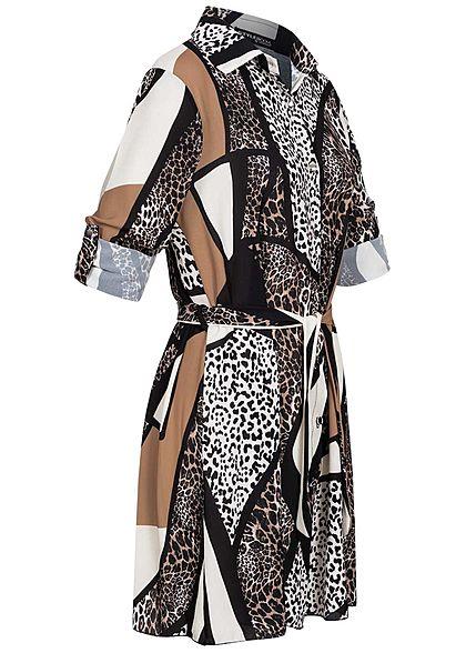 Styleboom Fashion Damen Turn-Up Crepe Kleid Leo ZigZag Print inkl. Gürtel braun