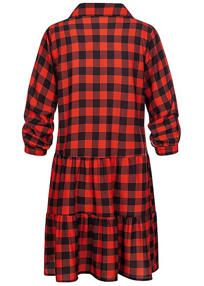Styleboom Fashion Damen Oversized Flanell Crepe Kleid Karo Muster rot schwarz