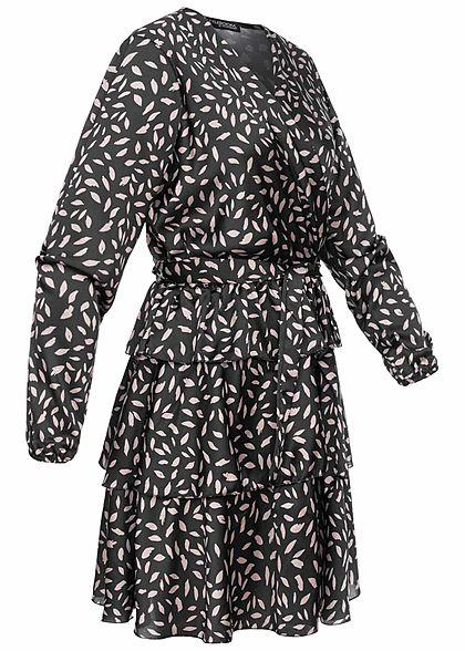 Styleboom Fashion Damen V-Neck Satin Kleid Feder Print Bindegürtel Stufenrock schwarz