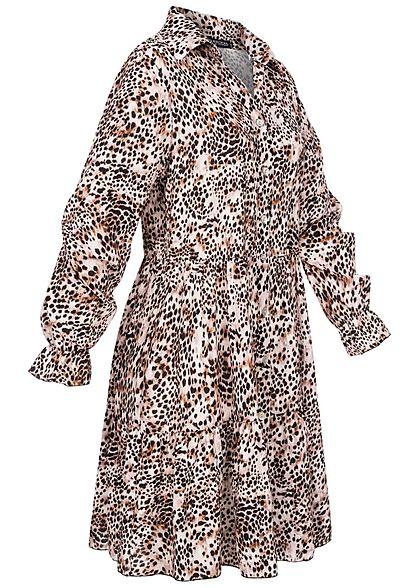 Styleboom Fashion Damen Mini Kleid Knopfleiste Allover Leo Print braun schwarz