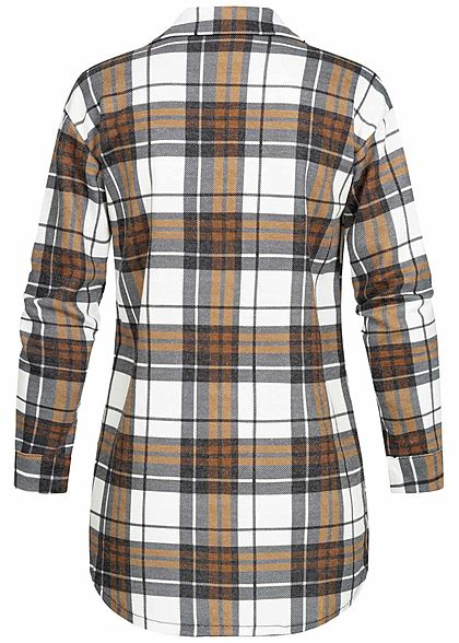 Styleboom Fashion Damen Oversized Winter Flanellhemd Karo Muster weiss braun