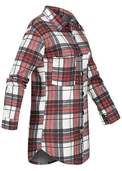 Styleboom Fashion Dames Oversized Winter Flanellen Overhemd geruite patroon wit rood