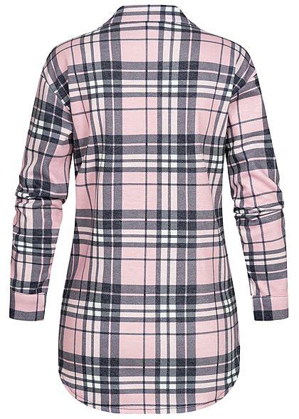 Styleboom Fashion Dames Oversized Winter Flanellen Overhemd geruite patroon pink zwart