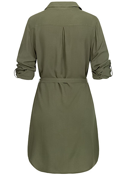 Seventyseven Lifestyle Damen Turn-Up Blusen Kleid inkl. Bindegürtel khaki grün