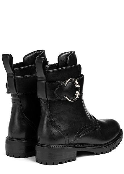 Seventyseven Lifestyle Damen Schuh Kunstleder Worker Boots Deko Schnalle & Zipper schwarz