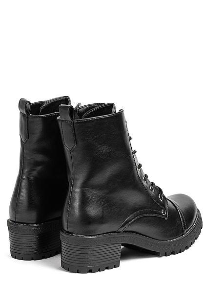 Seventyseven Lifestyle Damen Schuh Schnürstiefelette Absatz 4cm Zipper seitlch schwarz