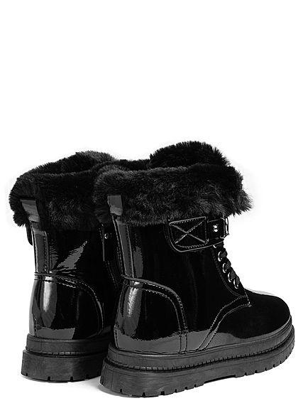Seventyseven Lifestyle Damen Schuh Kunstleder Winter Boots Kunstplüsch Glanz Look schwarz