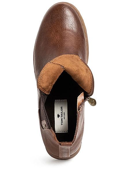 Tom Tailor Damen Schuh kurzer Kunstleder Halbstiefel Zipper seitlich cognac braun