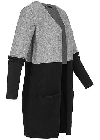 ONLY Damen NOOS Midi Colorblock Cardigan 2-Pockets medium grau mel. schwarz