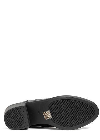 Seventyseven Lifestyle Damen Schuh Kunstleder Stiefelette Blockabsatz 6,5cm schwarz