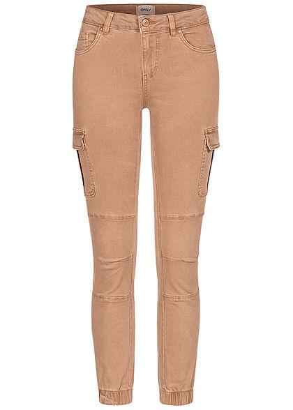ONLY Damen NOOS Ankle Cargo Jeans 6-Pockets Regular Waist tigers eye dunkel beige