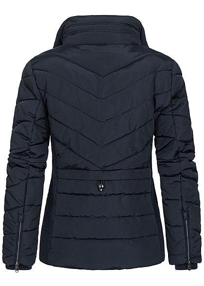 Tom Tailor Damen Winter Puffer Steppjacke abnehmb. Kunstfell Stehkragen 2-Pockets sky blau