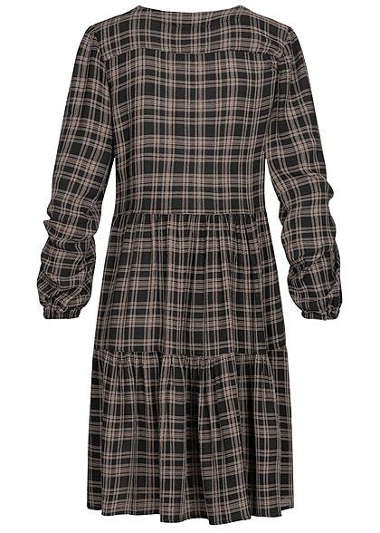 Hailys Damen Viskose V-Neck Puffer Kleid Knopfleiste Karo Muster beige braun schwarz
