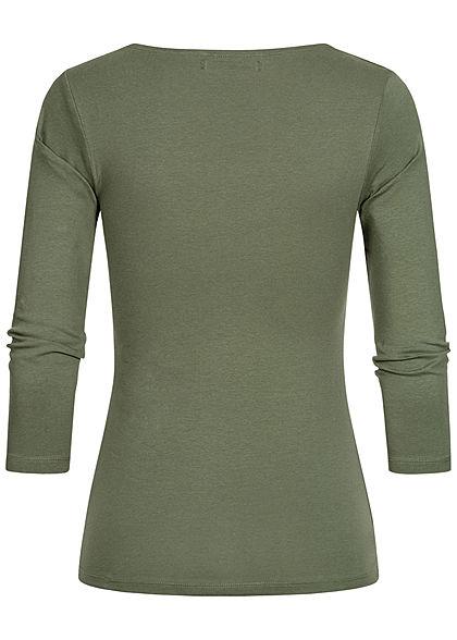 Hailys Damen 3/4 Arm V-Neck Longsleeve khaki grün
