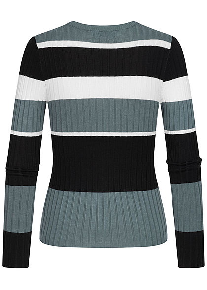 Hailys Damen Colorblock Struktur Pullover Streifen Muster djade grün