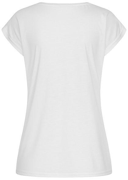 Hailys Damen T-Shirt EVERYDAY Pailletten Federn Print weiss