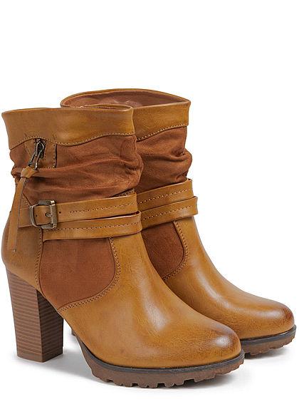 Seventyseven Lifestyle Damen Schuh Kunstleder High-Heel Stiefelette Absatz 9cm camel
