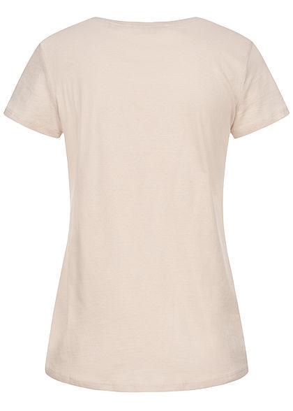 Tom Tailor Damen T-Shirt Anker Print soft beige