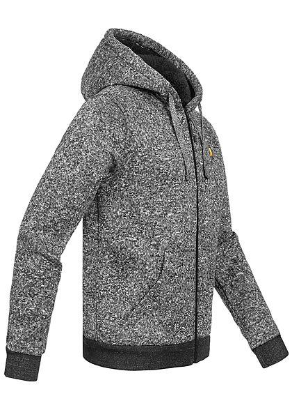 Brave Soul Herren Melange Zip-Hoodie Sweat Jacke Kapuze 2-Pockets schwarz grau