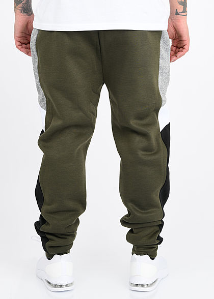 Brave Soul Herren Colorblock Sweat Pants Jogginghose 2-Pockets khaki grün grau
