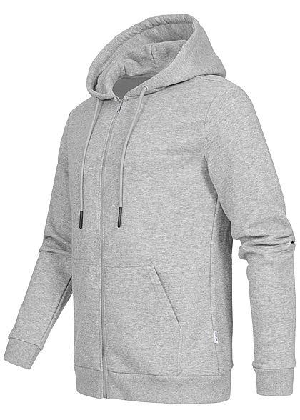 ONLY & SONS Herren NOOS Basic Zip-Hoodie Sweat Jacke Kapuze 2-Pockets hell grau