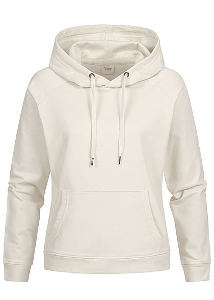 JDY by ONLY Basic Sweat Hoodie Kapuze Kängurutasche Tunnelzug silver birch beige - Art.-Nr.: 20104936