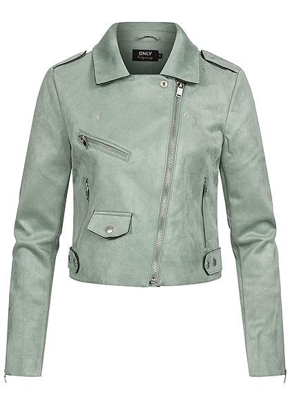 ONLY Damen kurze Biker Jacke Wildlederimitat 3-Pockets asymmetr. Zipper chinois grün