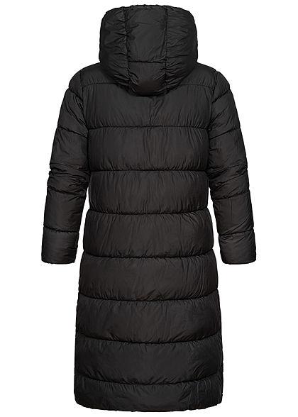 ONLY Damen langer Winter Puffermantel Steppjacke Kapuze 2-Pockets schwarz