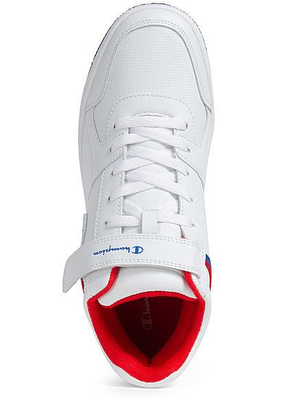 Champion Herren Schuh Mid Cut Colorblock Sneaker mit Logo Patch & Schnalle weiss
