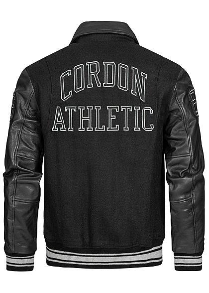 Cordon Sport Berlin Herren Lederjacke Materialmix Logo Patch 2-Pockets schwarz
