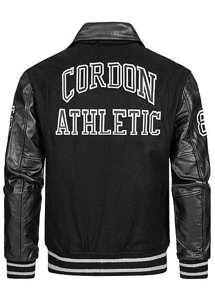 Cordon Sport Berlin Herren Lederjacke Materialmix Logo Patch 2-Pockets schwarz weiss