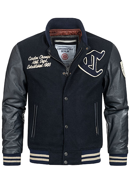 Cordon Sport Berlin Herren Lederjacke Materialmix Logo Frontpatch 2-Pockets navy blau - Art.-Nr.: 20104969