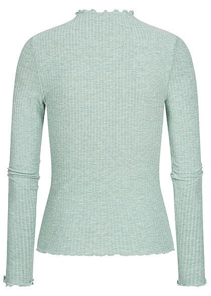 ONLY Damen NOOS Ribbed Frill Longsleeve Pullover chinois grün melange