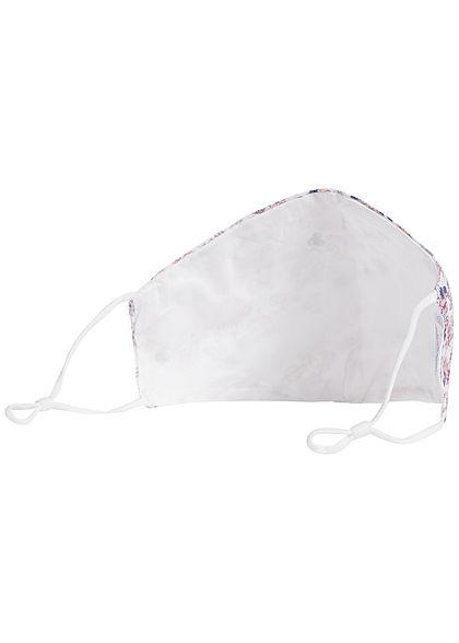 Hailys Damen Fashion Maske Mund-Nasen Behelfsmaske Floraler Print weiss rosa
