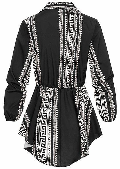 Styleboom Fashion Damen Turn-Up Longform Bluse mit Schnalle AOP Print schwarz
