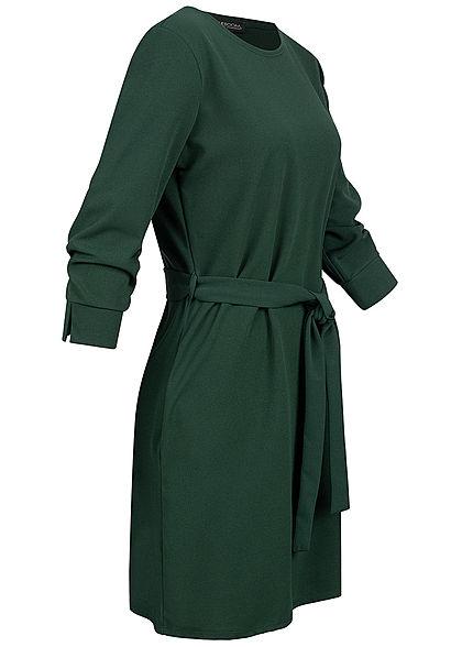 Styleboom Fashion Damen 3/4 Arm Mini Kleid mit Bindegürtel ...