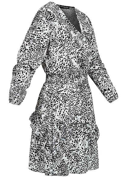 Styleboom Fashion Damen V-Neck Chiffon Crepe Kleid Stufenrock AOP Print weiss bk