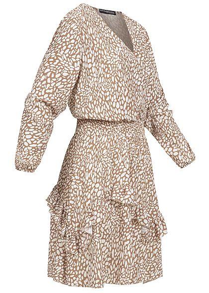 Styleboom Fashion Damen V-Neck Chiffon Crepe Kleid Stufenrock off weiss beige
