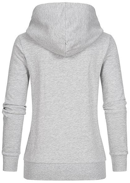 Seventyseven Lifestyle Damen Logo Print Hoodie mit Kapuze Kängurutasche hell grau weiss
